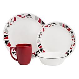 Corelle Livingware 32-Piece Dinnerware Set, Mosaic Red, Serv