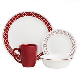 Corelle Livingware 16-Piece Dinnerware Set, Crimson Trellis
