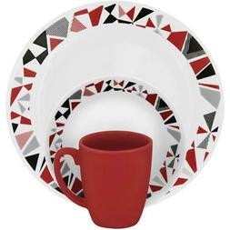 Corelle Livingware Mosaic Red 16-pc Dinnerware Set