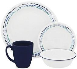 CORELLE Livingware Ocean Blues 16-piece Dinnerware Set for 4