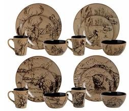 Lodge Rustic Decor Dinnerware Sets for 4-8-12 Cabin Mossy Oa