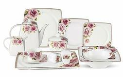 Lorren Home Trends 57-piece Loretta Bone China Dinnerware Se