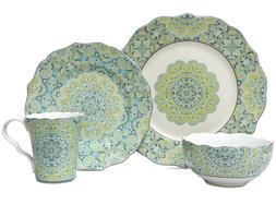 222 Fifth Lyria 16 Piece Porcelain Dinnerware Set with Round