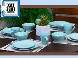 Malibu Set Dinnerware 16 Piece Dishes Plate Mug Turquoise Vi