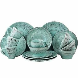 ELAMA MALIBU WAVES 16-PIECE EMBOSSED STONEWARE DINNERWARE SE