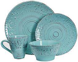 Elama ELM Malibu Waves 16-Piece Dinnerware Set in Turquoise,