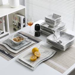 MALACASA Marble Grey Dinnerware Set Porcelain Dinner Dishes