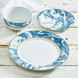 MARBLE SWIRL COLLECTION PORCELAIN DINNERWARE SET, BLUE/WHITE