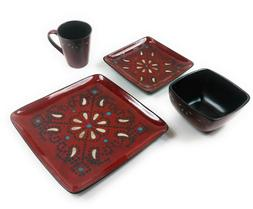 Marquee 16-Piece Reactive Square Dinnerware Set, Red New in