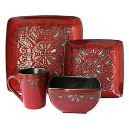 Marquee 16-Piece Reactive Square Dinnerware Set, Red
