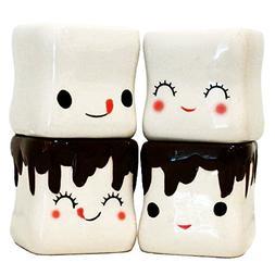 Marshmallow Shaped Hot Chocolate Ceramic Mugs - Set of 4 Cut
