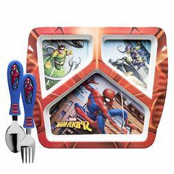 Zak Designs Marvel Spider-Man Kids Dinnerware Set, 3 Pieces