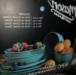 Mason Craft & More 8 Piece Ceramic Mason Dinnerware Set For