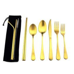 Matte Gold Dinnerware 18/10 Stainless Steel Portable Travel