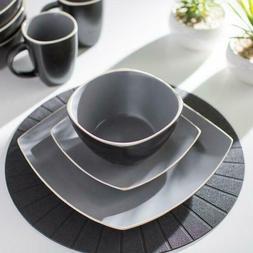 Matte Gray/Black Kendell 16 Piece Dinnerware Set, Service fo