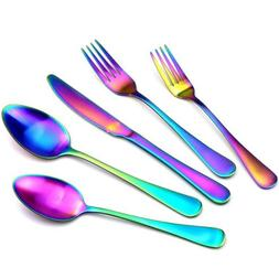 Matte Rainbow Plated 304 Stainless Steel Flatware Set Multic