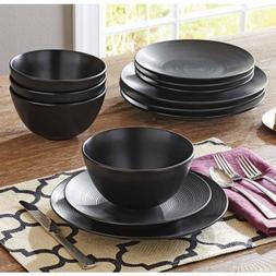 Matte Swirl 12-Piece Dinnerware Set, Black