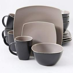 Matte Taupe Kitchen Dining Stoneware Dinnerware 16 Piece Set