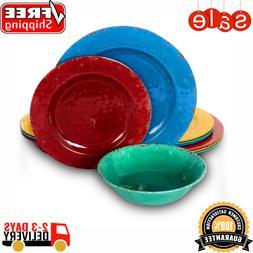 Mauna 12-Piece Casual Assorted colors Melamine Outdoor Dinne