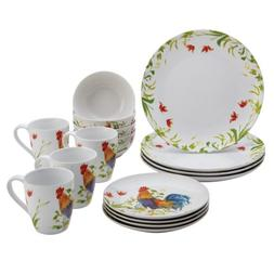 BonJour Dinnerware Meadow Rooster Stoneware 16-Piece Set, Pr