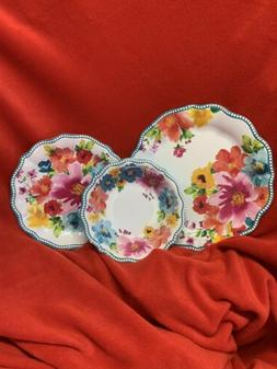 The Pioneer Woman Melamine Breezy Blossoms Dot Edges 3 Piece