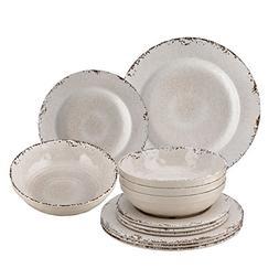 Melamine Crackle Dinnerware Set of 12, Cream