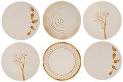 Melange 6-Piece 100% Melamine Dinner Plate Set    Shatter-Pr