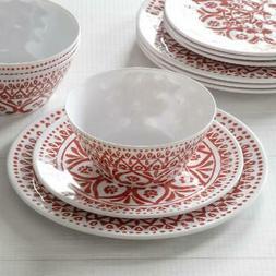Melamine Dinnerware Medallion Red 12 Piece Set Service 4 Din