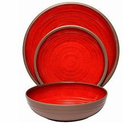 Melange 12-Piece 100% Melamine Dinnerware Set  | Shatter-Pro