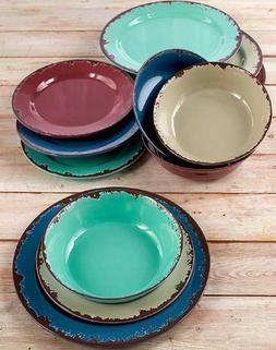 Melamine Dinnerware Set 12pc Rustic Indoor Outdoor Plates Sa