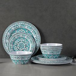 Melamine Dinnerware Set - 12pcs Dinnerware Dishes Set For Ev