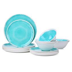 Melamine 18-Piece Dinnerware Set - Hware Dinner Plates Set f