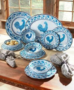 Melamine Dinnerware Set Blue Rooster Dishes Farmhouse Countr