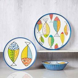 Melamine Dinnerware set for 4, Plates and Bowls Sets, RV, Un
