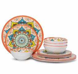 Melamine Dinnerware Set Kitchen 12 Piece Dishwasher Safe Coo