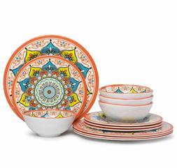 Melamine Dinnerware Set Kitchen 12 Piece Dishwasher Safe Coo