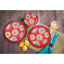 18 Piece Melamine Dinnerware Set Medallion Pattern