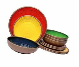 Melange 12-Piece 100% Melamine Dinnerware Set    Shatter-Pro