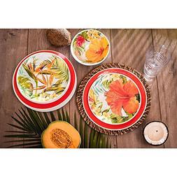 Melamine Dinnerware Tropical Design Set of 18 Pieces