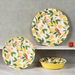Melamine Dinnerware Dishes Lemon Pattern 12 Pcs Set Dishwash