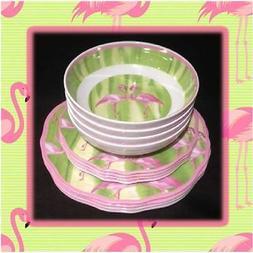 Cynthia Rowley Melamine Flamingo Dinnerware Set of 12 Plates