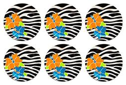 Melamine Hibiscus Plates Zebra Pattern Floral Design Perfect