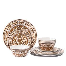 Melamine Dinnerware Set for 4- Hware 12 Piece Outdoor Dinner