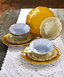 Melamine Mandala Dinnerware Plates & Bowl 12-Pc Set