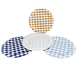 Clever Home Set of 4 Melamine Plates with Multi Color Scallo