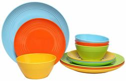 Melange 12-Piece Melamine Dinnerware Set  | Shatter-Proof an