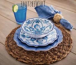 Outdoor 18 Piece Blue Floral Dinnerware Set BPA Free Faux St