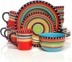 16 PC Fiesta Dinnerware Set Mexican Style Plate Bowl Mug Sal