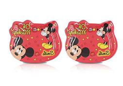 Finex Set of 2 - Red Mickey Mouse Plate Set Kids Dinner Meal