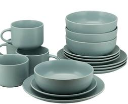 10 Strawberry Street Mineral Blue Matte 16-Piece Coupe Dinne